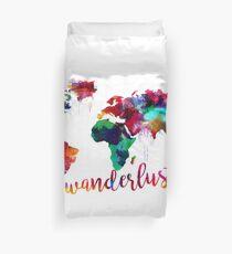 Watercolor Wanderlust World Map  Duvet Cover