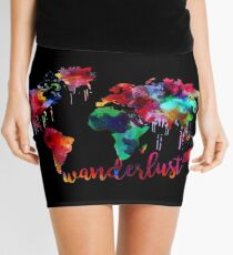 Watercolor Wanderlust World Map  Mini Skirt