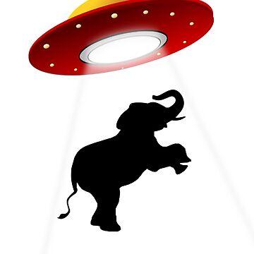 Elephant Abduction Alien spaceship shirt by Zuri2018
