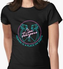 """San Junipero """"Heaven Is a Place on Earth"""" Women's Fitted T-Shirt"""