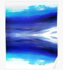 Blue and White Abstract by Jean Tippens Poster