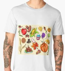 Thanksgiving day. Illustration with elements of thanksgiving celebration harvest and icons. Men's Premium T-Shirt