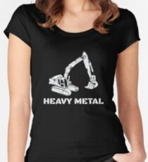 Heavy Metal Digger Funny Cute Backhoe Bulldozer White Women's Fitted Scoop T-Shirt