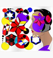 Abstract with a Pinwheel, Profile and Shapes Poster