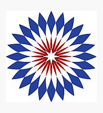 Stylish Red White and Blue Color Star Floral Rosette Design - 4 Photographic Print