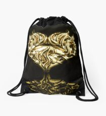 """Burning gold heart. """"One must never let the fire go out in one's soul, but keep it burning."""" Vincent van Gogh Drawstring Bag"""