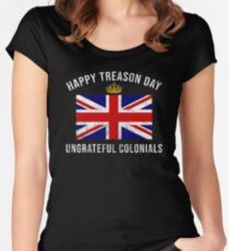 Independence Day Shirt Happy Treason Day USA 4th of July Tee Women's Fitted Scoop T-Shirt