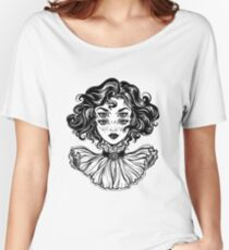 Gothic witch girl head portrait with curly hair and four eyes. Women's Relaxed Fit T-Shirt