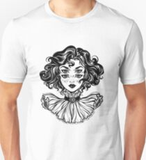 Gothic witch girl head portrait with curly hair and four eyes. Unisex T-Shirt