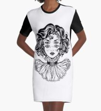 Gothic witch girl head portrait with curly hair and four eyes. Graphic T-Shirt Dress