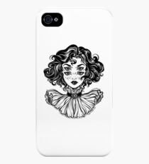 Gothic witch girl head portrait with curly hair and four eyes. iPhone 4s/4 Case