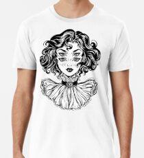 Camiseta premium para hombre Retrato gótico de la cabeza de la muchacha de la bruja con el pelo rizado y cuatro ojos.