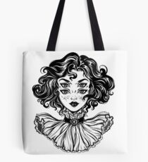 Gothic witch girl head portrait with curly hair and four eyes. Tote Bag