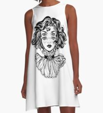 Gothic witch girl head portrait with curly hair and four eyes. A-Line Dress