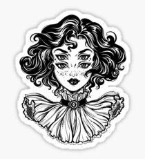Gotisches Hexemädchen-Kopfporträt mit dem gelockten Haar und vier Augen. Glänzender Sticker