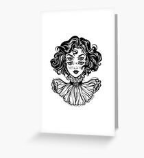 Gothic witch girl head portrait with curly hair and four eyes. Greeting Card