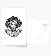 Gothic witch girl head portrait with curly hair and four eyes. Postcards