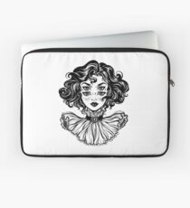 Gothic witch girl head portrait with curly hair and four eyes. Laptop Sleeve