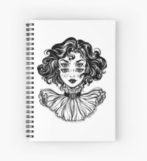 Gothic witch girl head portrait with curly hair and four eyes. Spiral Notebook