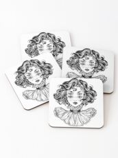 Gothic witch girl head portrait with curly hair and four eyes. Coasters