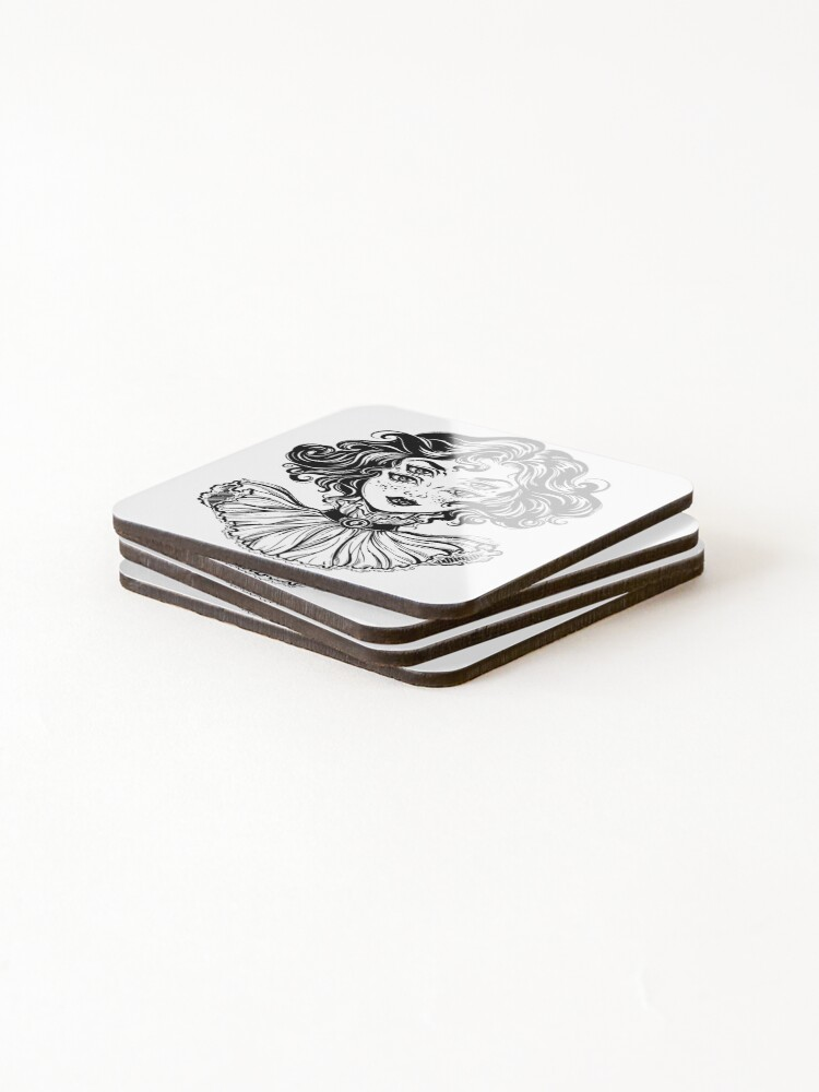 Alternate view of Gothic witch girl head portrait with curly hair and four eyes. Coasters (Set of 4)