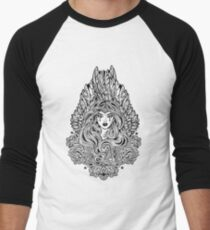 Angel magic woman with wings and long hair and ornate decoration Men's Baseball ¾ T-Shirt