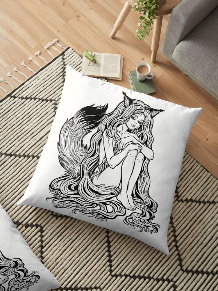 'Beautiful Japanese demon fox Kitsune shapeshifter as girl witch with long  hair and furry tail  ' Floor Pillow by KatjaGerasimova