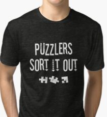 Jigsaw Puzzle Lovers Sort It Out Funny Gift TShirt Tri-blend T-Shirt