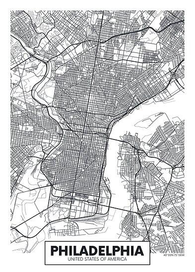 Vektor-Poster Karte Stadt Philadelphia von maximgertsen