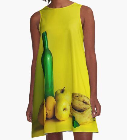 Zitronen-Limonenstillleben A-Linien Kleid