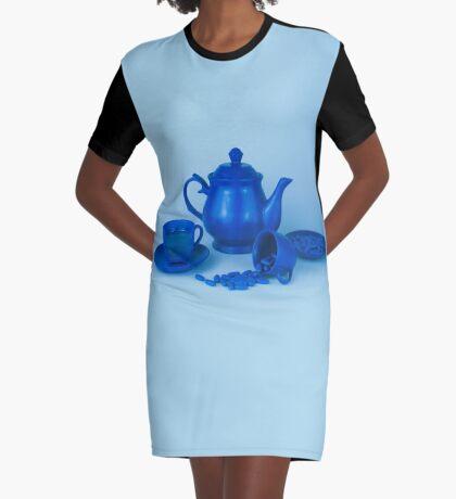 Blue Tea Party Wahnsinn Stillleben T-Shirt Kleid