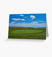 Golf course next to the sea,famous Seven Sisters white cliffs in the background. Greeting Card