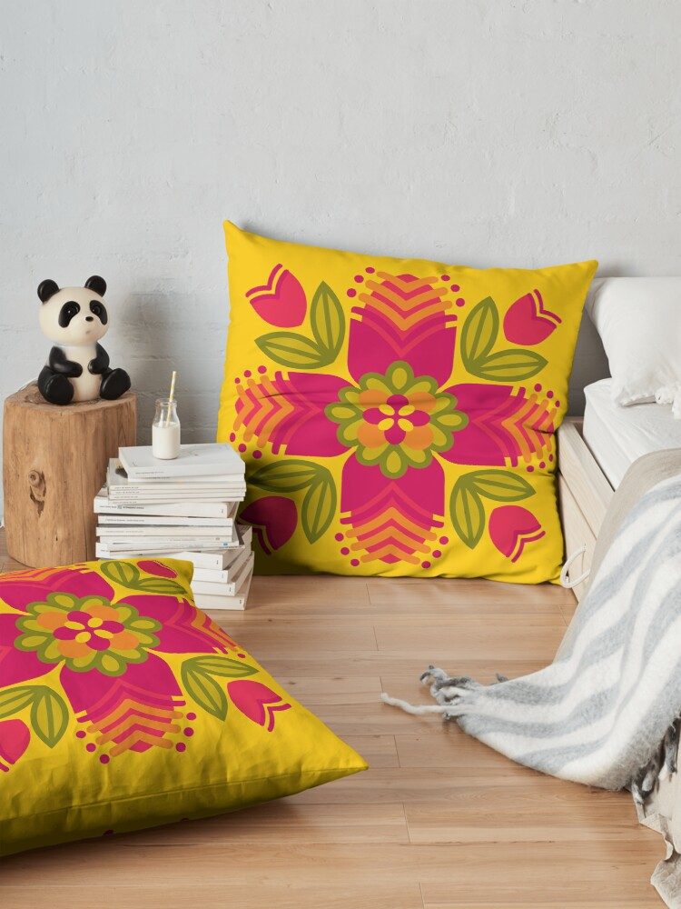 Alternate view of Graphic Floral Mandala [1] Floor Pillow