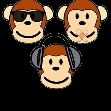 Illustration of Cartoon Three Monkeys - See, Hear, Speak No Evil by taiche