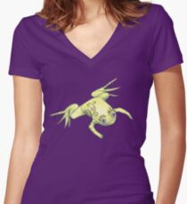 Weird Frog With Funny Eyelashes Digital Art Women's Fitted V-Neck T-Shirt