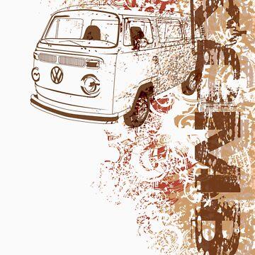 Volkswagen Kombi Tee shirt - Grunge white by KombiNation