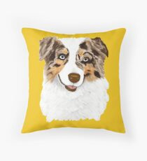 Red Merle Australian Shepherd Dog Throw Pillow