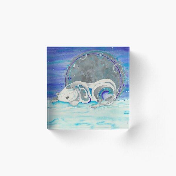 Sleeping Polar Bear Winter Sleep Acrylic Block