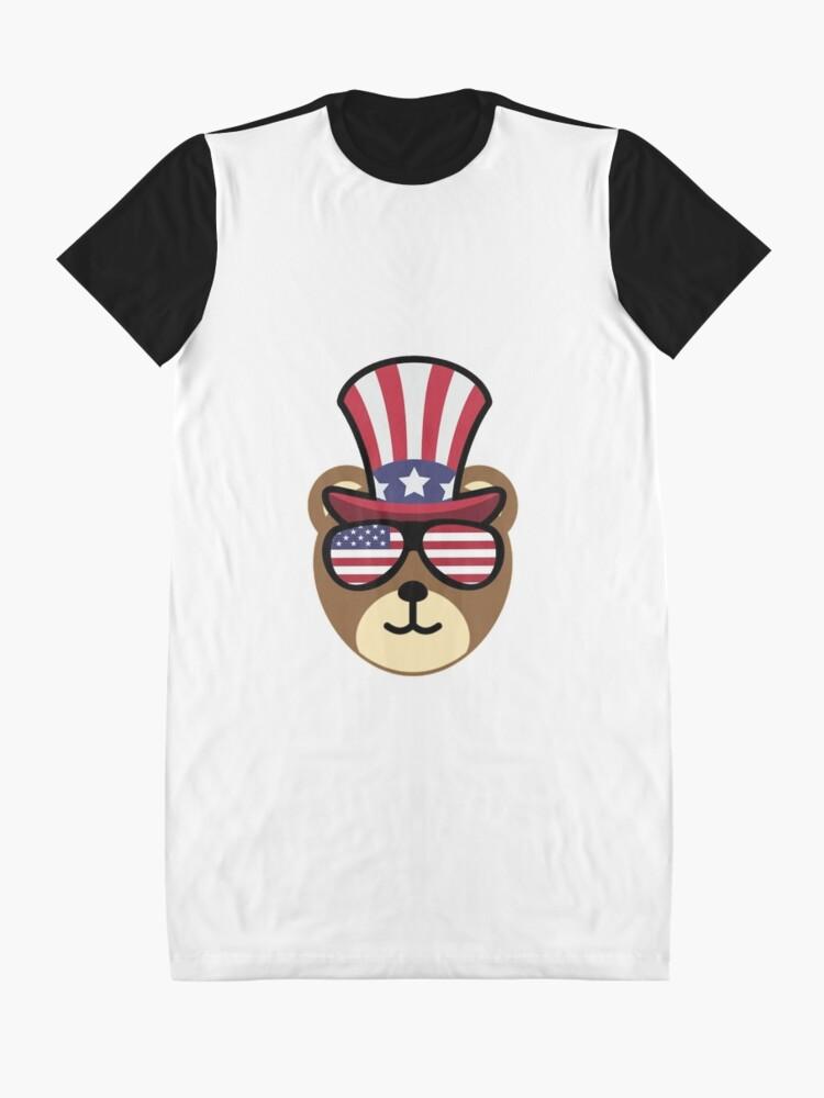 Vista alternativa de Vestido camiseta Bear Happy 4th Of July