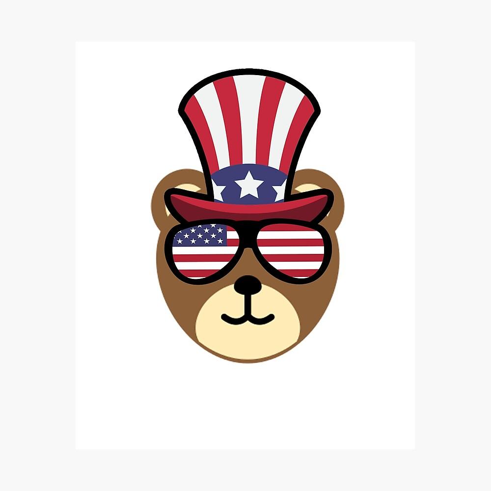 Bear Happy 4th Of July Lámina fotográfica