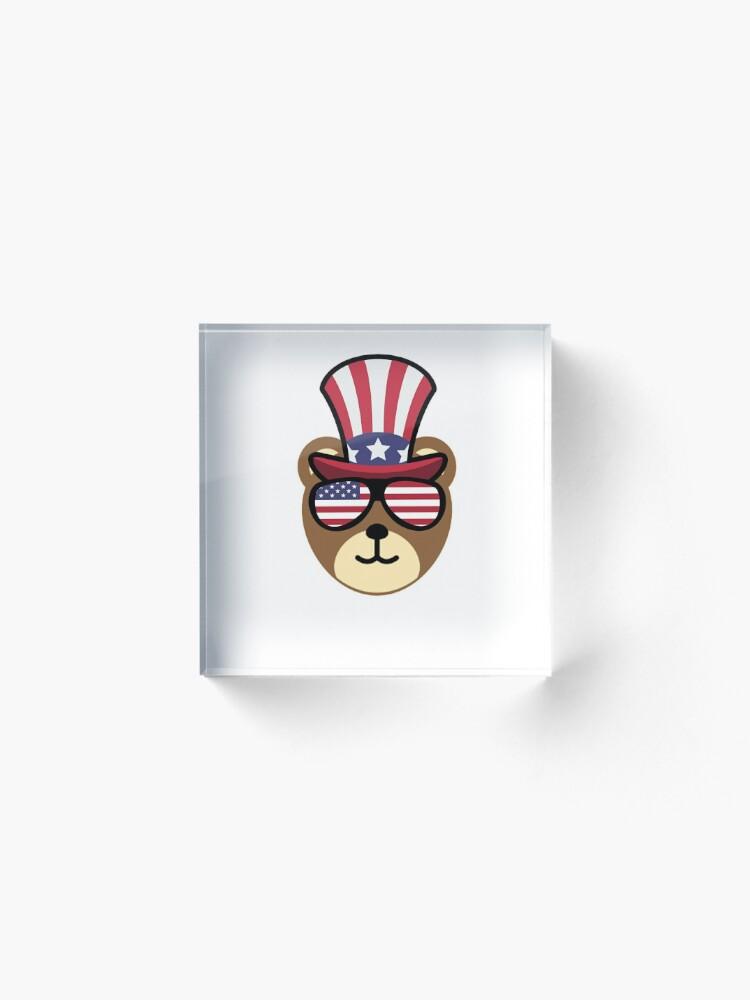 Vista alternativa de Bloque acrílico Bear Happy 4th Of July