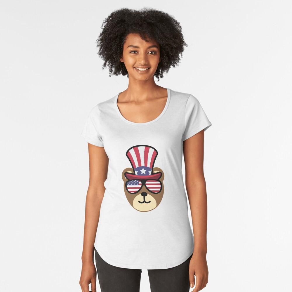 Bear Happy 4th Of July Camiseta premium de cuello ancho