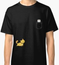 Cool Fake Pocket Design Penguin And Cat Funny TShirt Classic T-Shirt