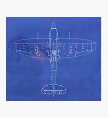 BLUE PRINT, Overhead, Supermarine, Spitfire, Supermarine, Spitfire, Fighter, WWII, 1942, Fighter, WWII, 1942, Photographic Print