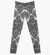 Charcoal Lace Pencil Doodle Leggings