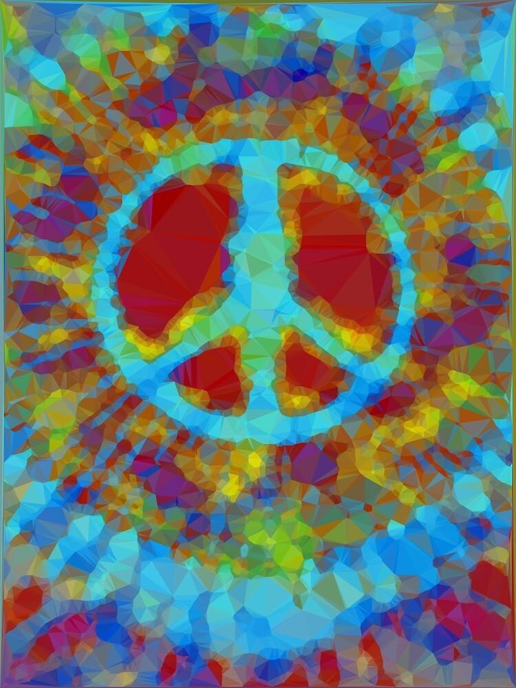 Rot Blau Trippy Tie Dye Friedenszeichen Von Vicky Brago Mitchell