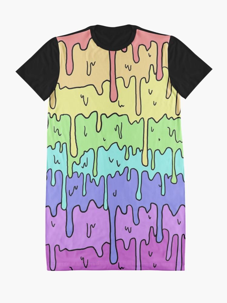 Alternative Ansicht von Pastell Kawaii schmelzender Regenbogen-Entwurf T-Shirt Kleid