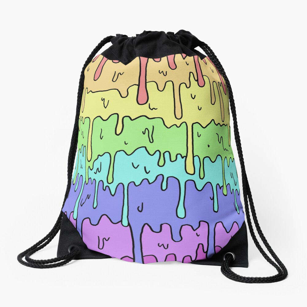 Pastel Kawaii Melting Rainbow Design  Drawstring Bag
