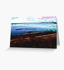 Train Near Ocean Painting Greeting Card