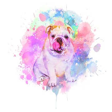 Bulldog Watercolor Print Bulldogs Puppy Painting Wall Art by Joeby26